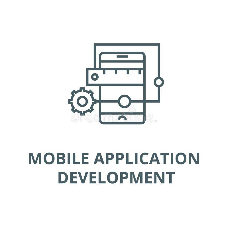 Línea icono, concepto linear, muestra del esquema, símbolo del vector del desarrollo de aplicación móvil stock de ilustración