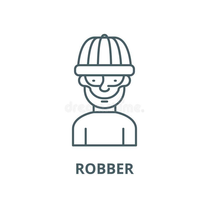 Línea icono, concepto linear, muestra del esquema, símbolo del vector del ladrón libre illustration