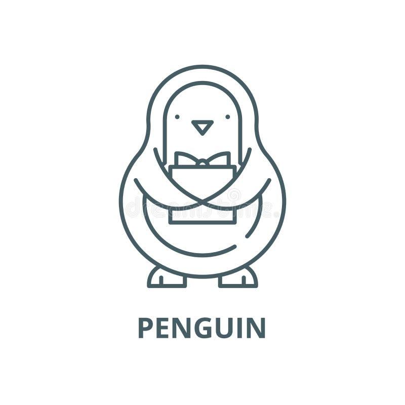 Línea icono, concepto linear, muestra del esquema, símbolo del vector del pingüino stock de ilustración