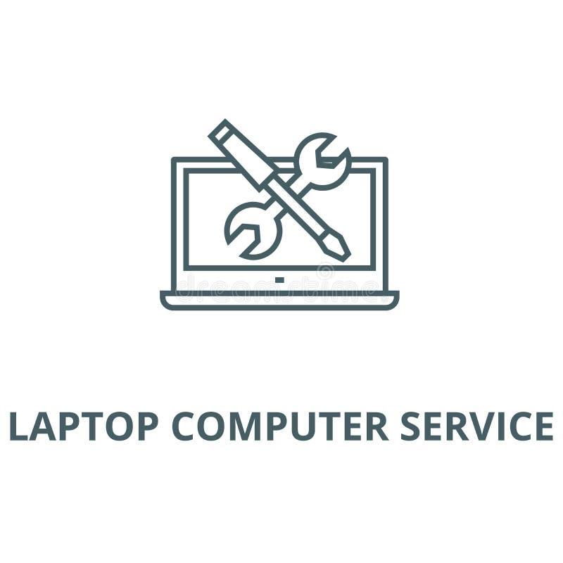 Línea icono, concepto linear, muestra del esquema, símbolo del vector del servicio informático de ordenador portátil ilustración del vector