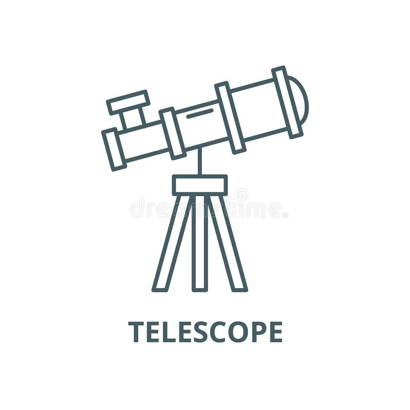 Línea icono, concepto linear, muestra del esquema, símbolo del vector del telescopio stock de ilustración