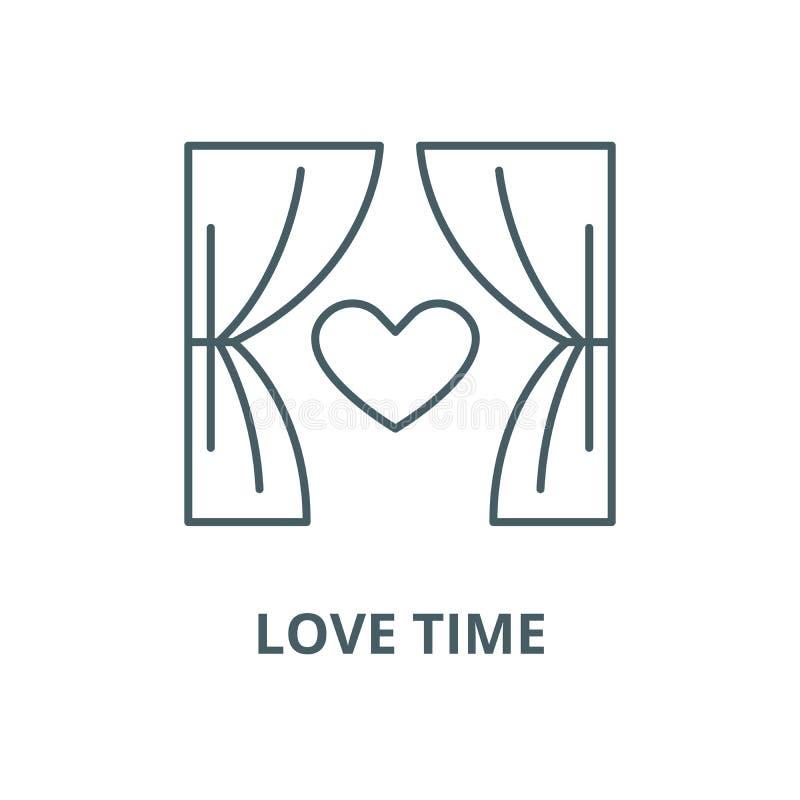 Línea icono, concepto linear, muestra del esquema, símbolo del vector del tiempo del amor ilustración del vector