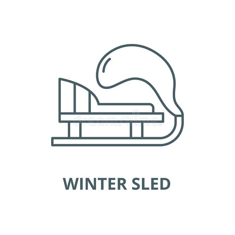 Línea icono, concepto linear, muestra del esquema, símbolo del vector del trineo del invierno stock de ilustración