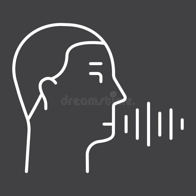 Línea icono, control del reconocimiento de voz de la voz stock de ilustración