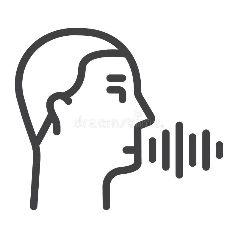 Línea icono, control del reconocimiento de voz de la voz ilustración del vector