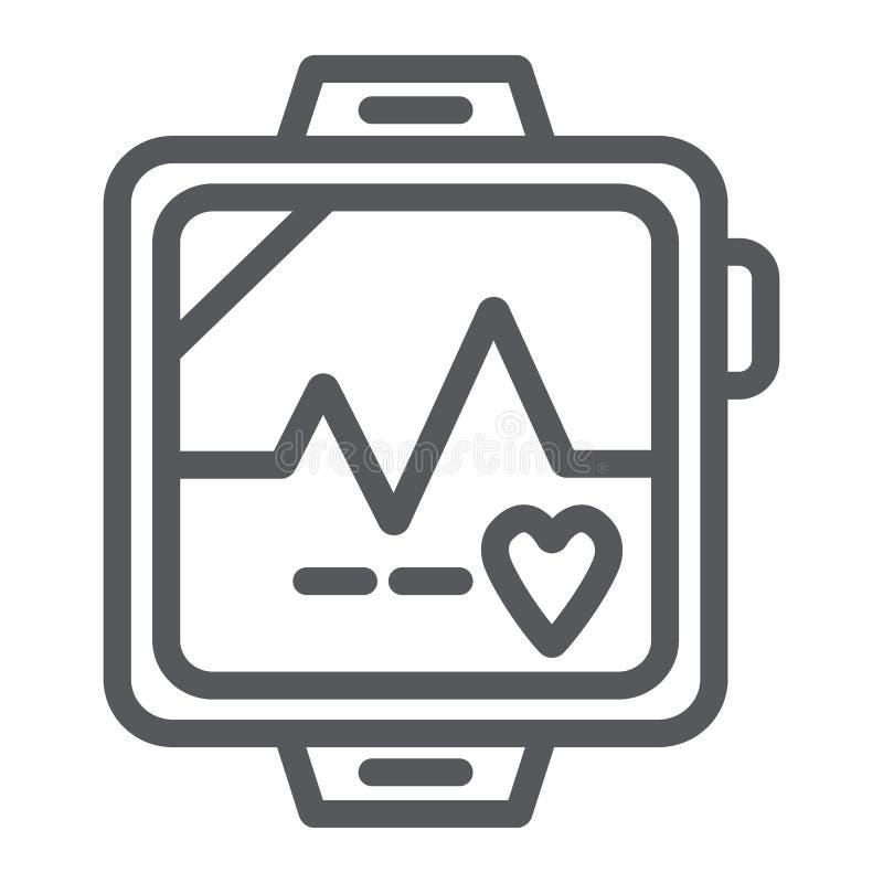 Línea icono, corazón y cardiio del pulsómetro, muestra del latido del corazón, gráficos de vector, un modelo linear en un fondo b stock de ilustración