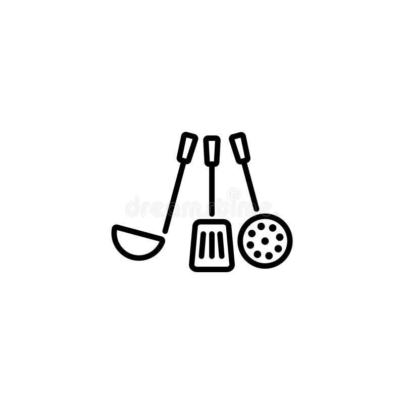 Línea icono Cucharón, desnatadora libre illustration