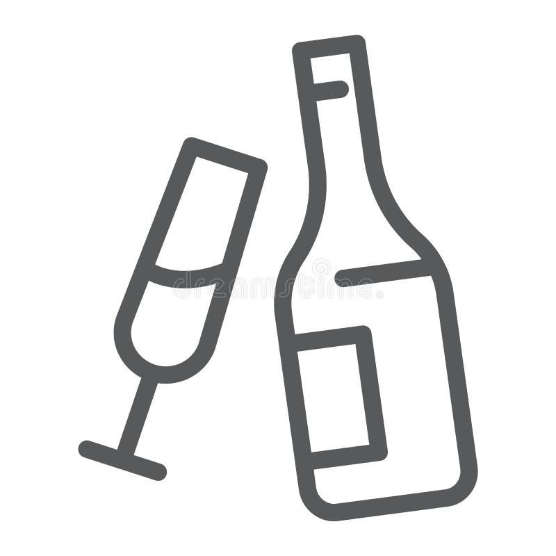 Línea icono de Champán, alcohol y bebida, botella con la muestra de cristal, gráficos de vector, un modelo linear en un fondo bla libre illustration