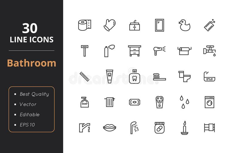 Línea icono de 30 cuartos de baño stock de ilustración