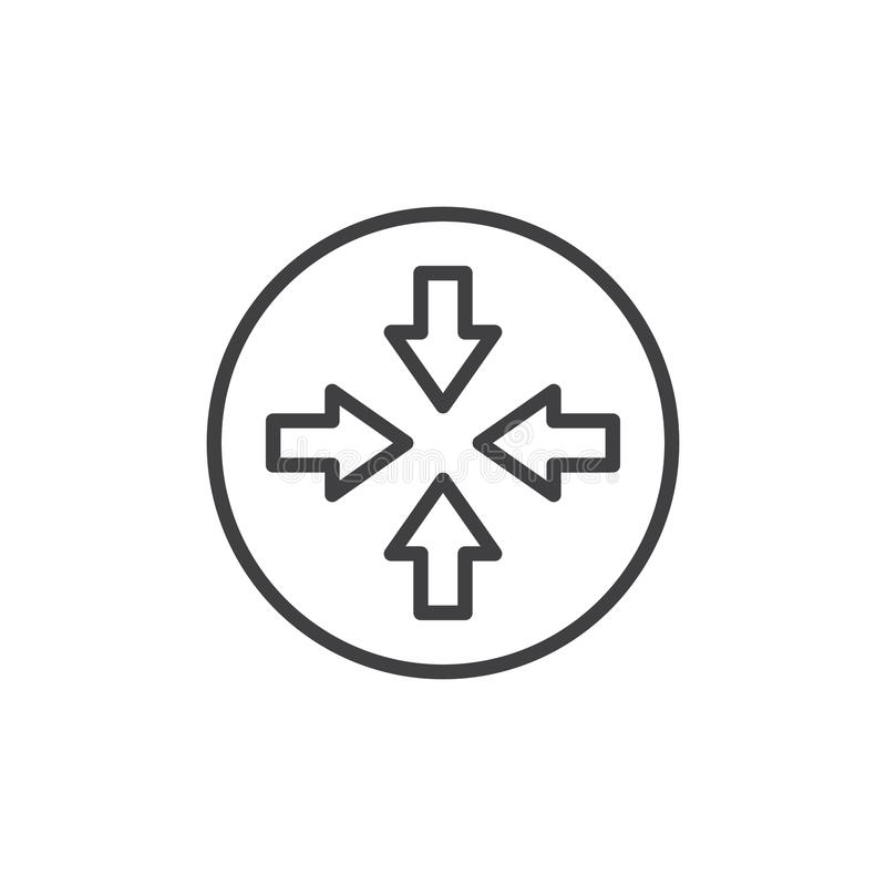 Línea icono de cuatro flechas libre illustration