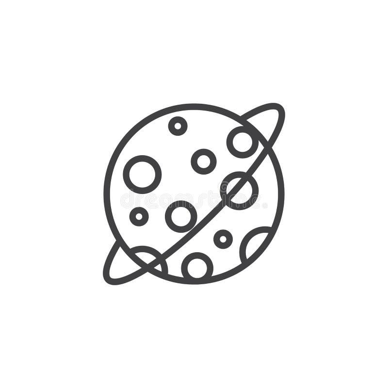 Línea icono de la órbita de la luna stock de ilustración