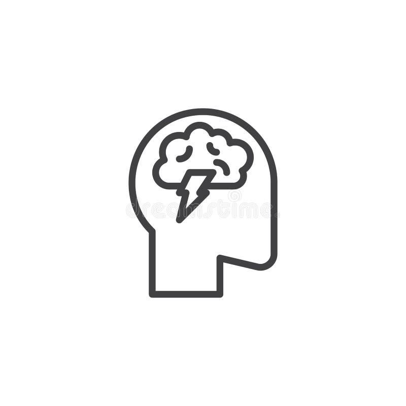Línea icono de la actividad cerebral libre illustration