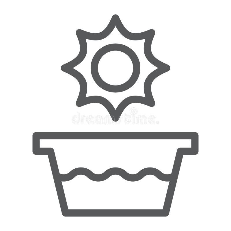 Línea icono de la agua caliente, temperatura y lavado, muestra del lavabo, gráficos de vector, un modelo linear en un fondo blanc ilustración del vector