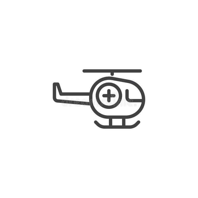 Línea icono de la ambulancia del helicóptero ilustración del vector