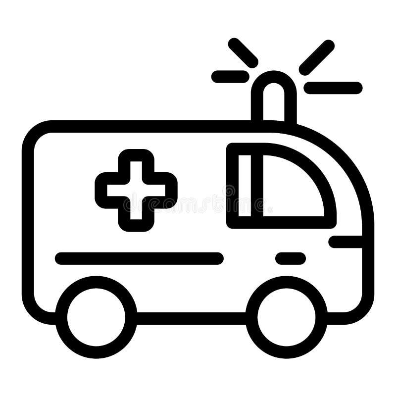 Línea icono de la ambulancia Ejemplo médico del vector del coche aislado en blanco Diseño auto del estilo del esquema de la emerg ilustración del vector