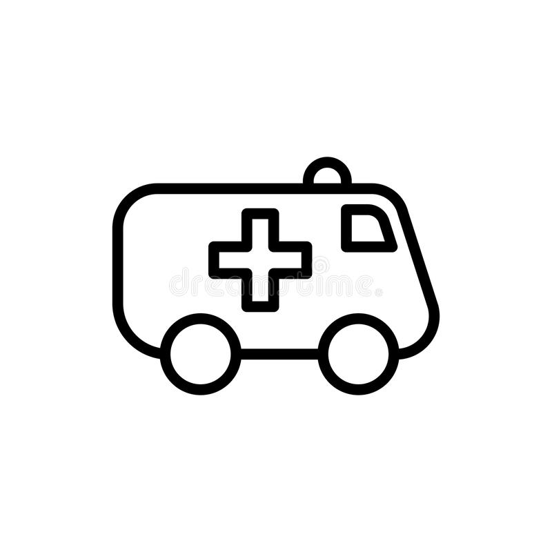Línea icono de la ambulancia en el fondo blanco ilustración del vector