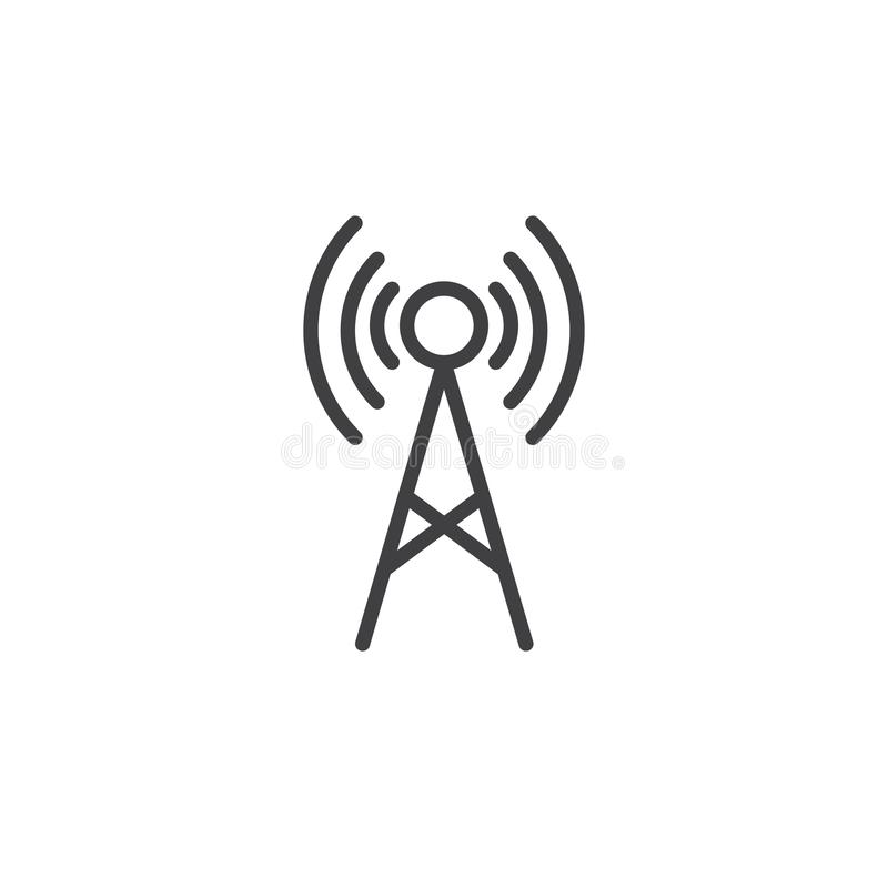 Línea icono de la antena libre illustration