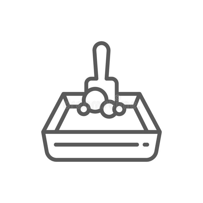 Línea icono de la bandeja y de la pala de la arena ilustración del vector