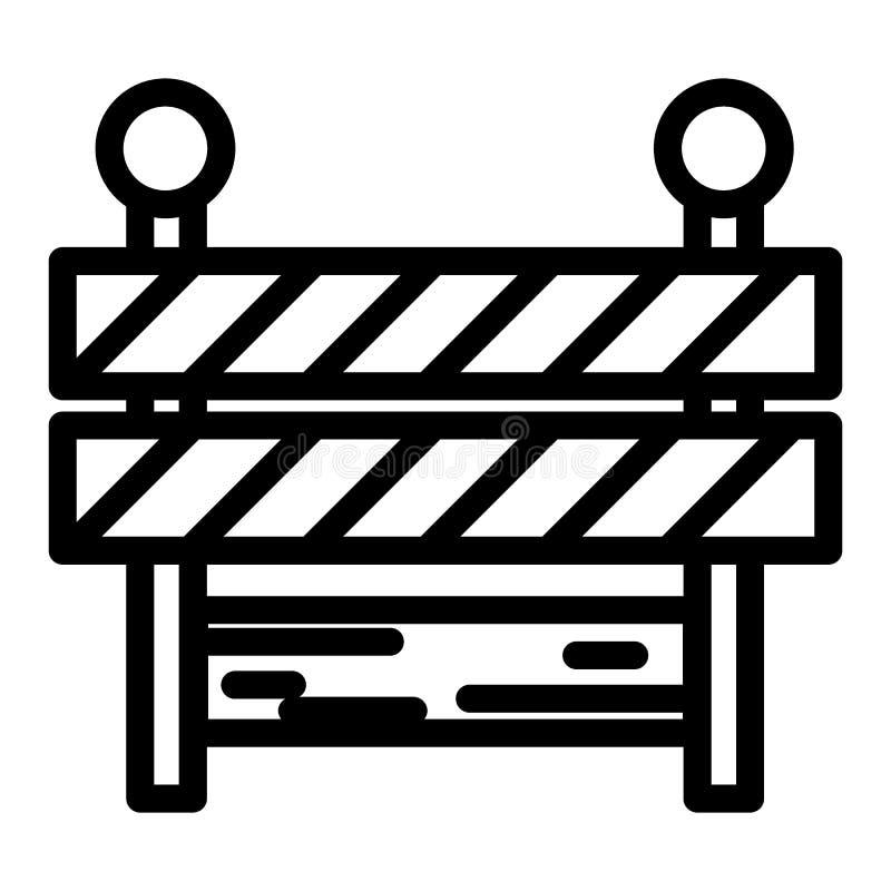 Línea icono de la barricada Ejemplo del vector de la barrera aislado en blanco Diseño del estilo del esquema del límite, diseñado ilustración del vector