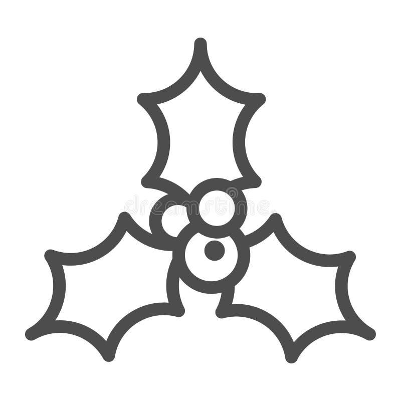 Línea icono de la baya del acebo Ejemplo del vector de la decoración de la Navidad aislado en blanco Las bayas del acebo resumen  stock de ilustración