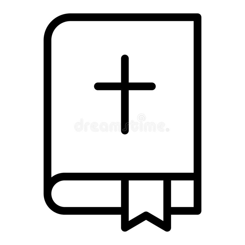 Línea icono de la biblia Ejemplo del vector del libro sagrado aislado en blanco Diseño del estilo del esquema de la religión, dis stock de ilustración