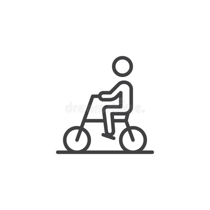 L?nea icono de la bici del montar a caballo del hombre stock de ilustración