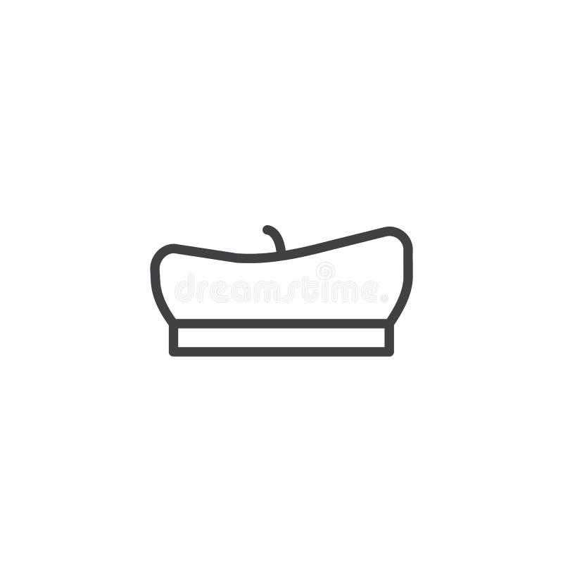 Línea icono de la boina del pintor libre illustration