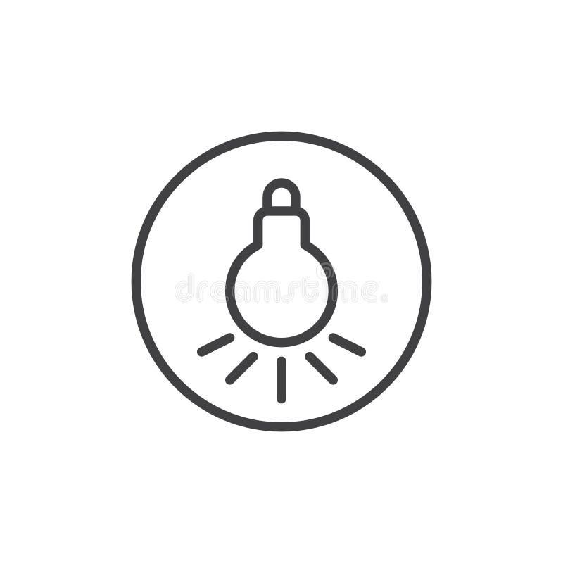 Línea icono de la bombilla ilustración del vector
