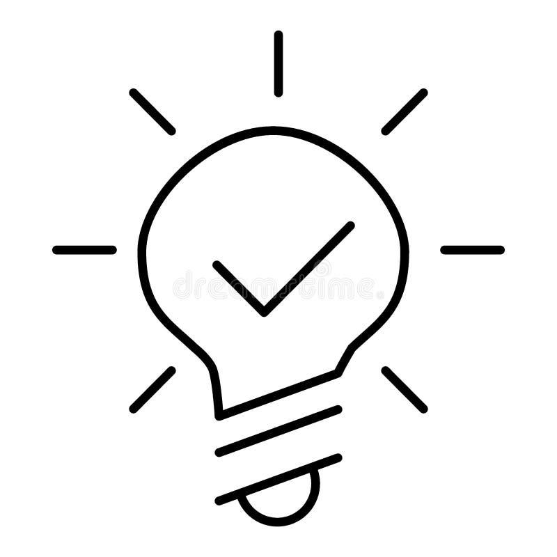Línea icono de la bombilla en el fondo blanco Línea fina ejemplo plano Diseño del esquema ilustración del vector