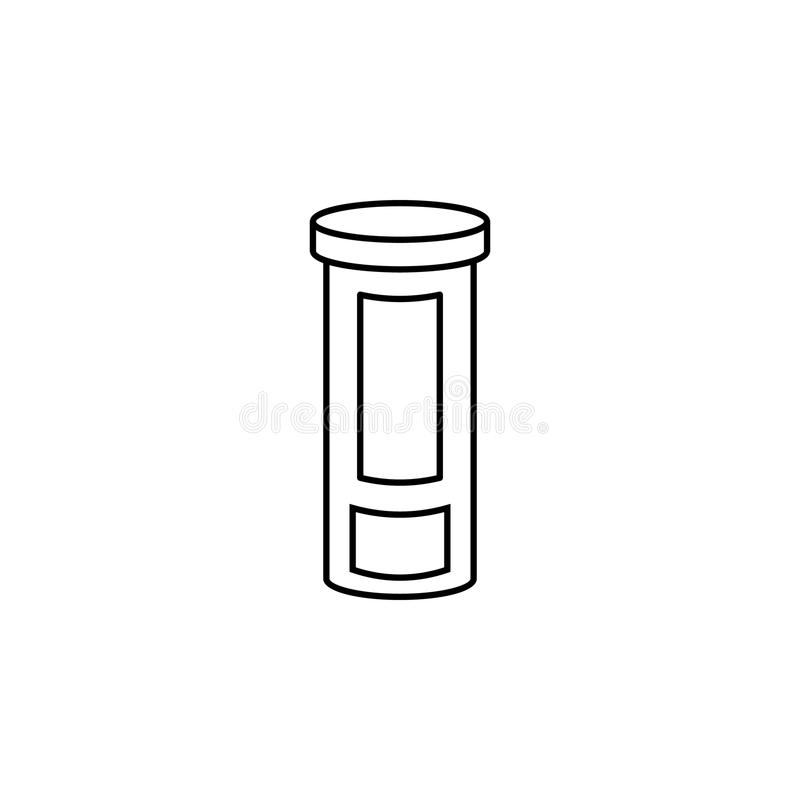 Línea icono de la botella de la medicina El elemento de la medicina equipa el icono Diseño gráfico de la calidad superior Muestra ilustración del vector