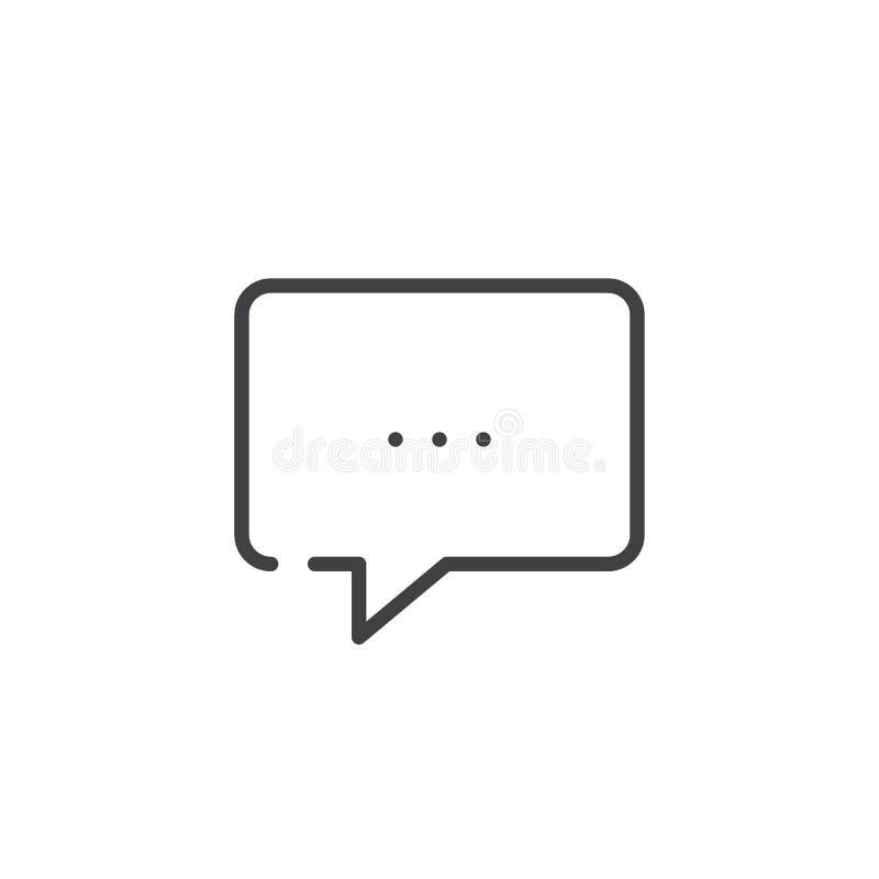 línea icono de la burbuja del discurso stock de ilustración