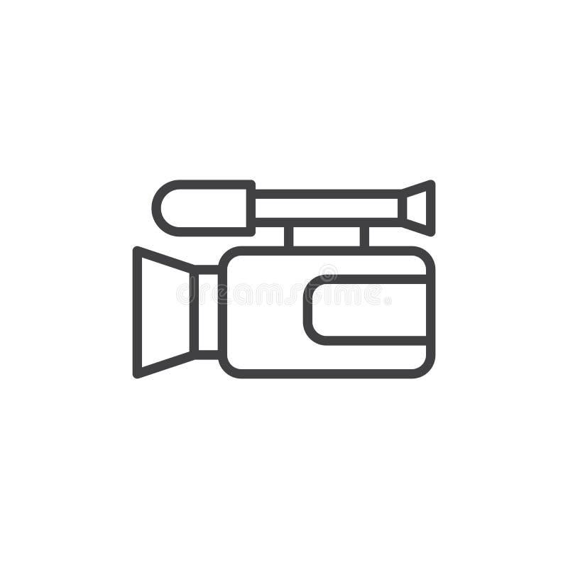 Línea icono de la cámara de vídeo ilustración del vector