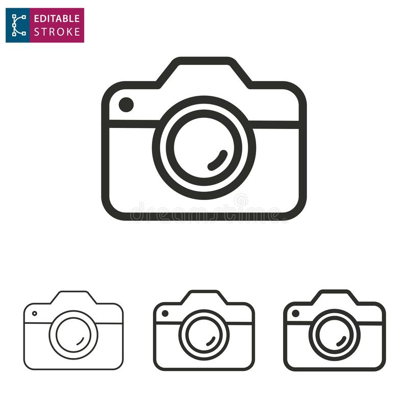 Línea icono de la cámara en el fondo blanco Movimiento Editable stock de ilustración