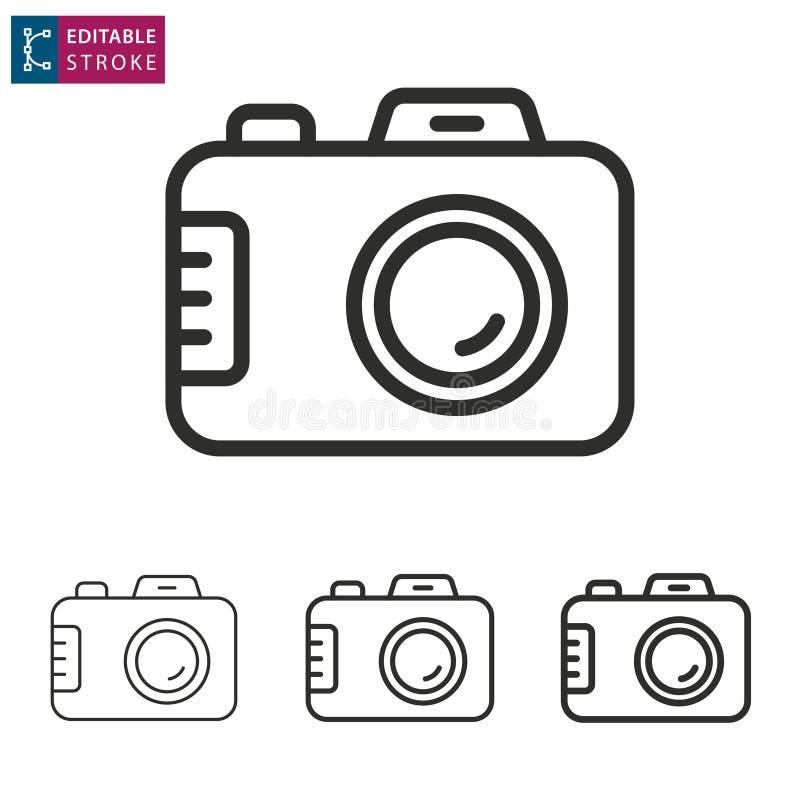 Línea icono de la cámara en el fondo blanco Movimiento Editable libre illustration