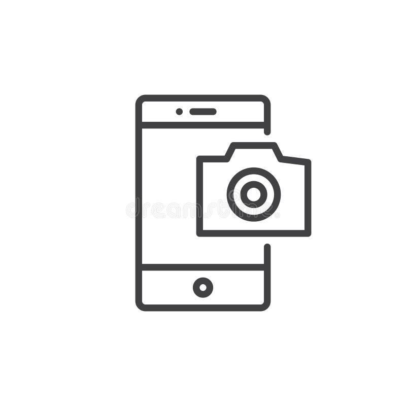 Línea icono de la cámara de la fotografía del teléfono móvil libre illustration