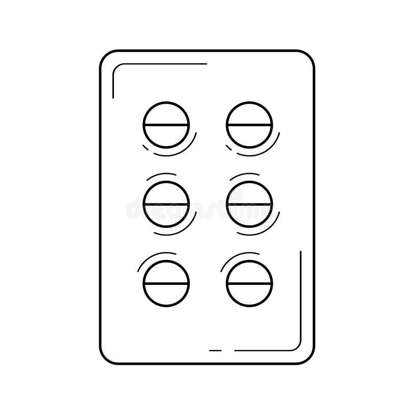 Línea icono de la caja de las píldoras stock de ilustración