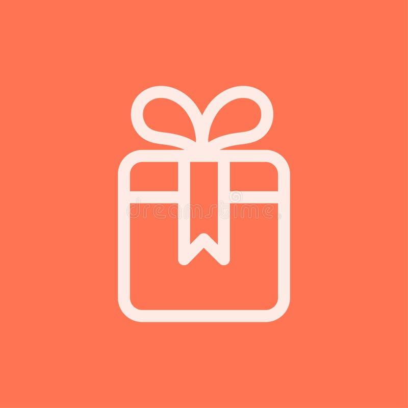 Línea icono de la caja de regalo en estilo plano libre illustration