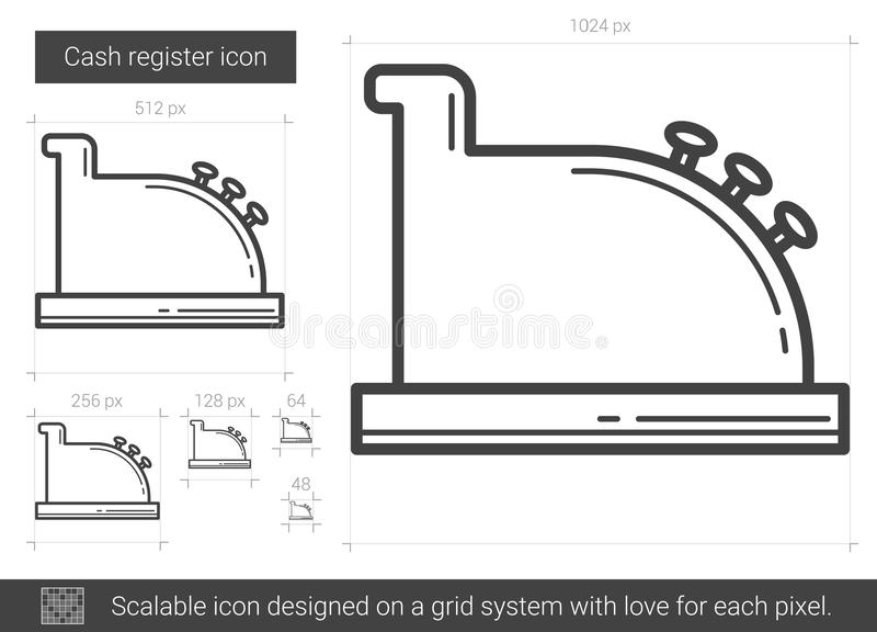 Línea icono de la caja registradora ilustración del vector