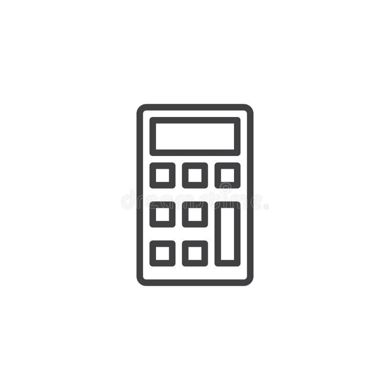 Línea icono de la calculadora ilustración del vector