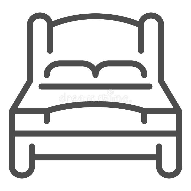 Línea icono de la cama Ejemplo del vector de la cama matrimonial aislado en blanco Diseño del estilo del esquema del sitio doble, stock de ilustración