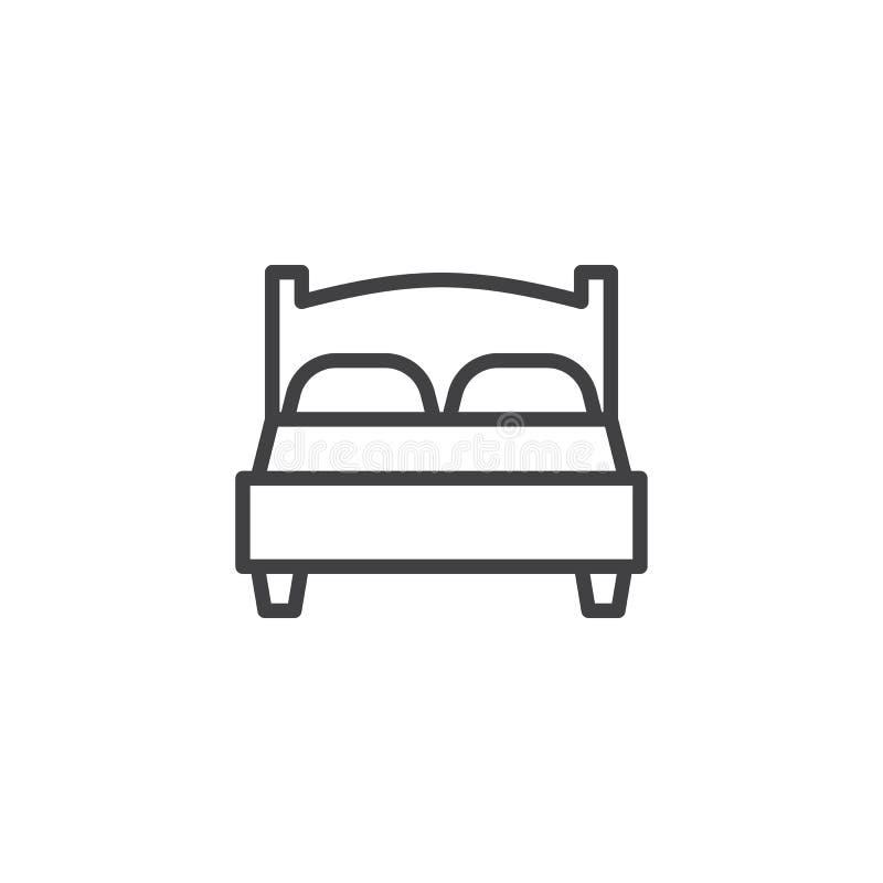 Línea icono de la cama matrimonial libre illustration
