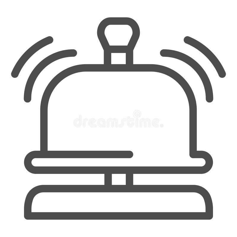 Línea icono de la campana de la recepción Ejemplo del vector de la campana del hotel aislado en blanco Diseño alerta sano del est libre illustration