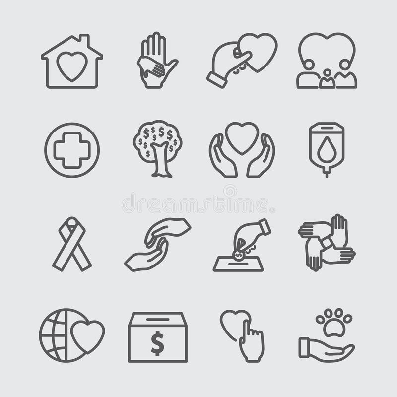 Línea icono de la caridad libre illustration