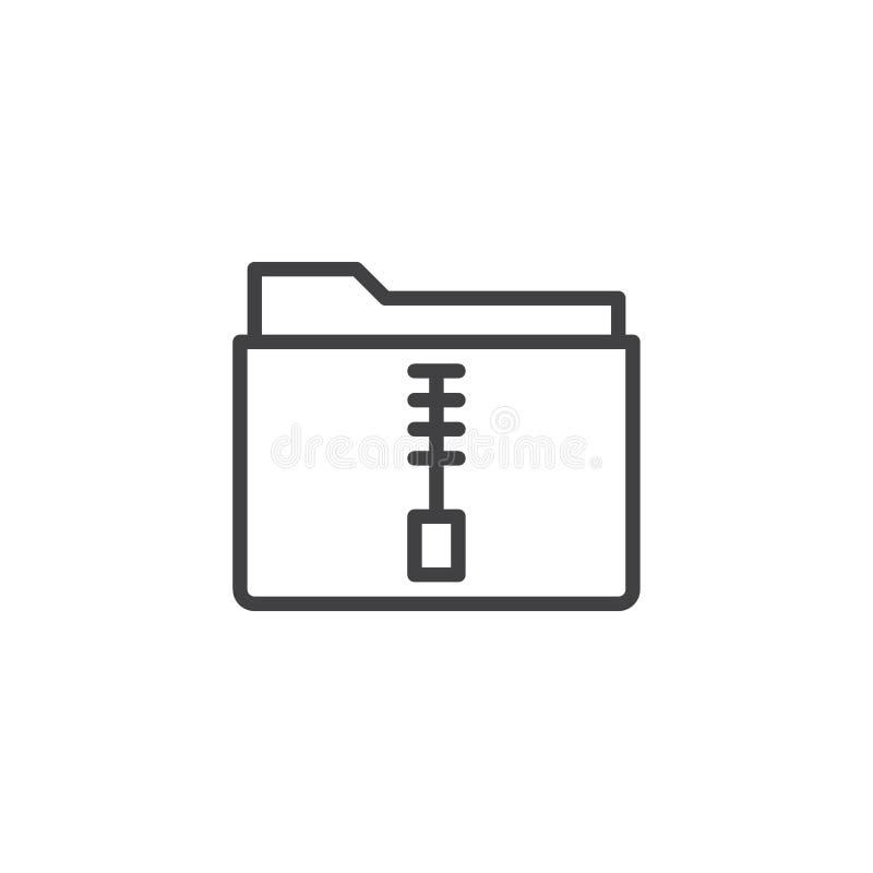 Línea icono de la carpeta de archivo zip stock de ilustración