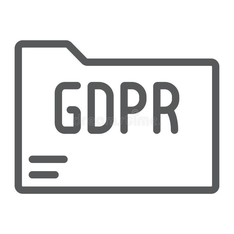 Línea icono de la carpeta de Gdpr, información y documento, muestra del fichero, gráficos de vector, un modelo linear en un fo stock de ilustración