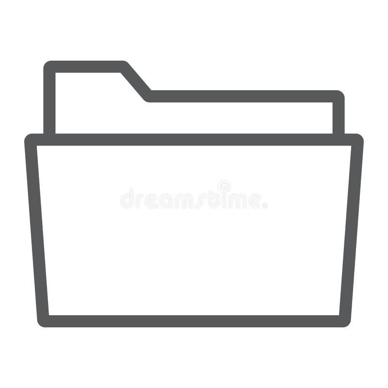 Línea icono de la carpeta, oficina y trabajo, muestra del fichero ilustración del vector