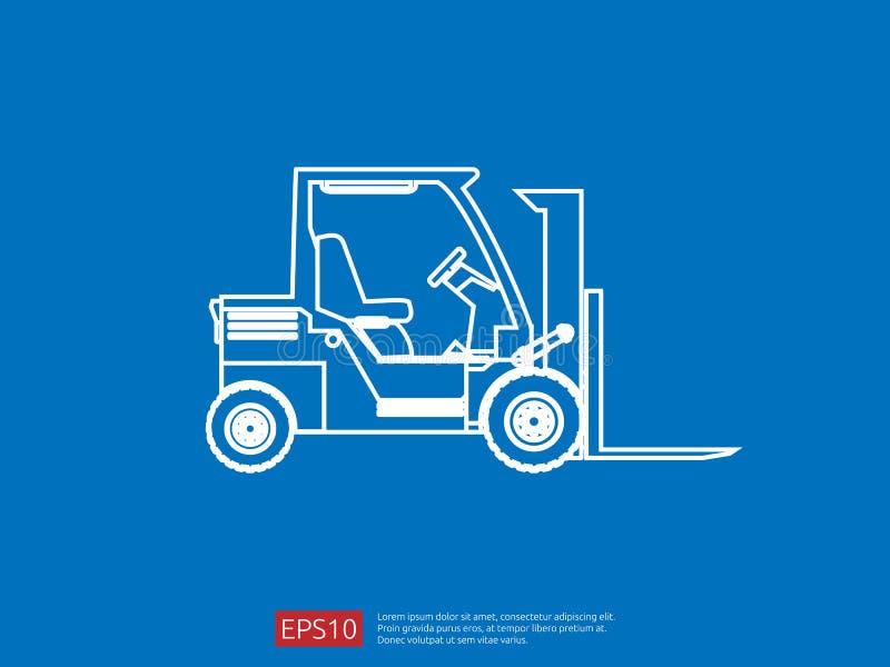 Línea icono de la carretilla elevadora ejemplo del vector del cargador de la bifurcación del almacén símbolo del camión de repart stock de ilustración