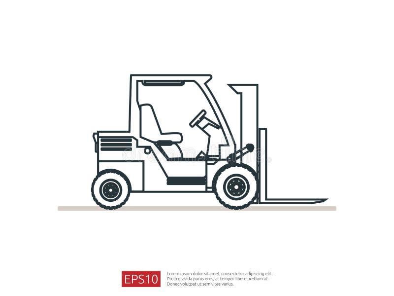 Línea icono de la carretilla elevadora ejemplo del vector del cargador de la bifurcación del almacén símbolo del camión de repart libre illustration