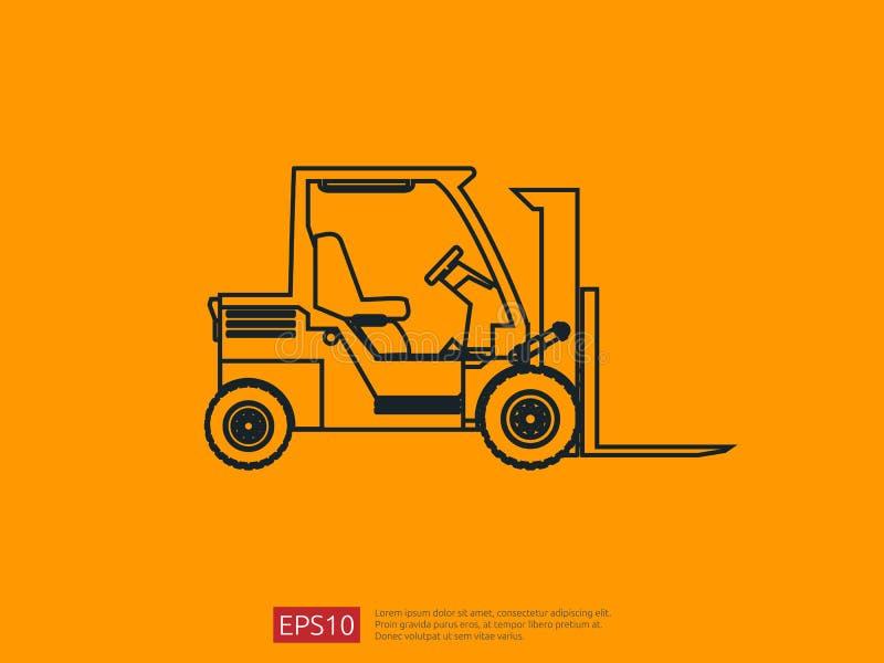 Línea icono de la carretilla elevadora ejemplo del vector del cargador de la bifurcación del almacén símbolo del camión de repart ilustración del vector