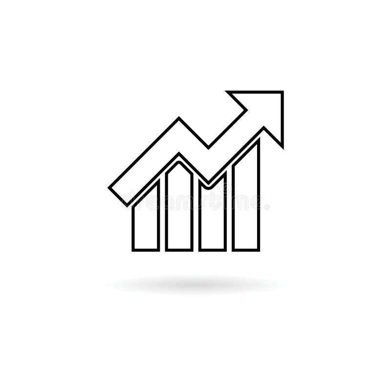 Línea icono de la carta de crecimiento ilustración del vector